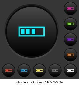 Progressbar dark push buttons with vivid color icons on dark grey background