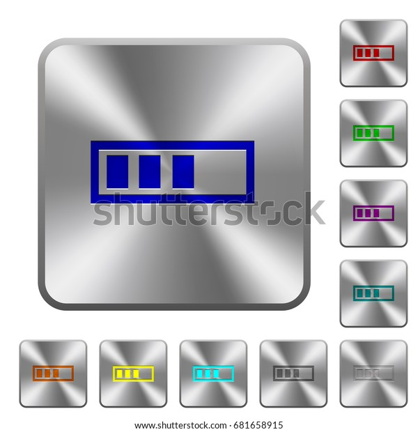Progressbar engraved icons on rounded square glossy steel buttons