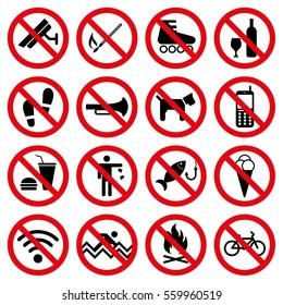 Prohibit Signs Symbols set