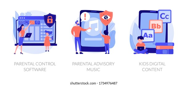 Prohibited content, access restrict. Educational lesson for children. Parental control software, parental advisory music, kids digital content metaphors. Vector isolated concept metaphor illustrations