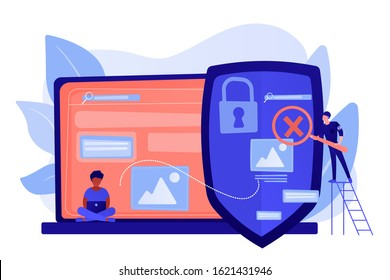Prohibited, illegal sites, resources. Copyright protection from scamming. Media content control, media use regulations, online media police concept. Pinkish coral bluevector isolated illustration
