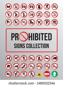 Prohibited item signs vector collection