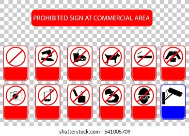 Prohibited Sign at Public Commercial Area, at Transparent Effect Background