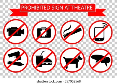 Prohibited Sign at The Theater at Transparent Effect Background