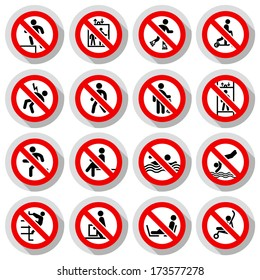 Prohibited signs paper sticky, vector illustration