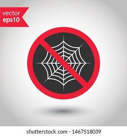 Prohibited spiderweb vector icon. No web icon. Forbidden spiderweb icon. Warning, caution, attention, restriction, danger flat sign design. EPS 10 symbol