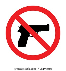 Prohibiting sign for gun. No gun sign. Vector illustration