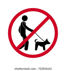 prohibiting sign you can not walk with a dog, stick a figure isolated vector