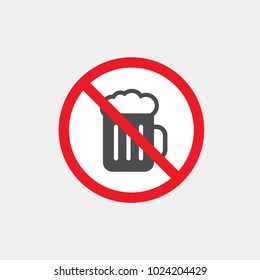 Prohibiting vector sign. Prohibiting flat vector icon. With beer prohibited sign