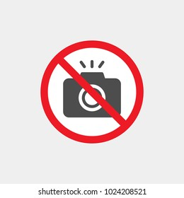 Prohibiting vector sign. Prohibiting flat vector icon. Photography is prohibited sign. No photo
