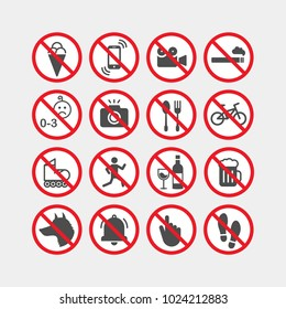 Prohibiting vector signs. Prohibiting flat vector icons set.