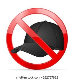 Prohibition cap symbol on a white background.
