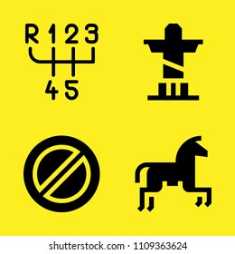 prohibition, horseriding, gearbox and christ the redeemer vector icon set. Sample icons set for web and graphic design