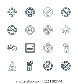 Prohibition icon. collection of 16 prohibition outline icons such as no laptop, smoking area, no smoking, bacteria. editable prohibition icons for web and mobile.