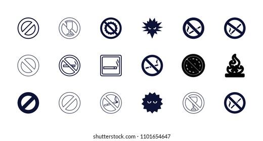 Prohibition icon. collection of 18 prohibition filled and outline icons such as bacteria, no brightness, prohibited, no smoking. editable prohibition icons for web and mobile.