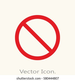 Prohibition icon isolated sign symbol and flat style for app, web and digital design. Vector illustration.