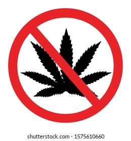 Prohibition of marijuana. Cannabis and hemp, warning and forbidden.  No cannabis sign