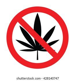Prohibition for marijuana. Vector illustration