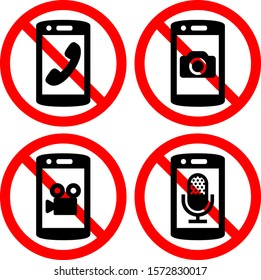Prohibition mark of talking and taking photos and movies and recording by mobile phones