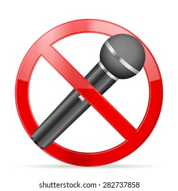 Prohibition microphone symbol on a white background.