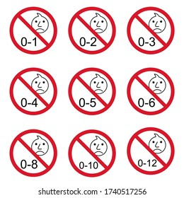 Prohibition no baby for set 0-1 etc sign. Not suitable for children under 1,2.. years vector icon