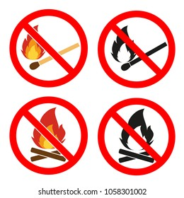 Prohibition open flame symbol. Red icon on white background. No Fire sign.Fire flame icons. Heat symbols. Inflammable signs. Flat icon pointers.