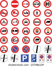 Prohibition road signs