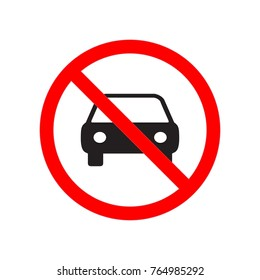 Prohibition sign for car