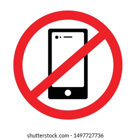 Prohibition sign for cellphone with red prohibiting symbol.  isolated illustrator in Vector format.