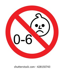 Prohibition sign for children.Not for children under 6 years sign.  Vector illustration