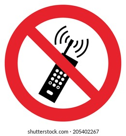 Prohibition sign DO NOT USE MOBILE PHONE