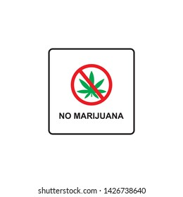 Prohibition sign icon No cannabis vector illustration isolated on white with a black leaf of marijuana, marihuana. Red prohibition warning symbol
