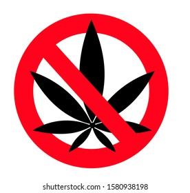 Prohibition sign icon No cannabis illustration isolated on white with a black leaf of marijuana, marihuana. Red prohibition warning symbol.