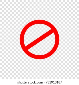Prohibition Sign icon. Vector. Red flat icon on transparent background.