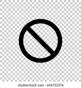 Prohibition sign isolated on transparent background. Black symbol for your design. Vector illustration, easy to edit.