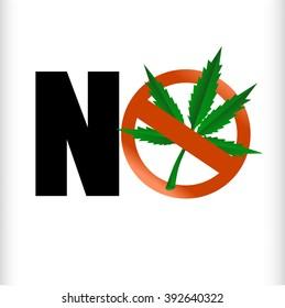 Prohibition sign. No cannabis.