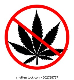 Prohibition sign. No cannabis vector
