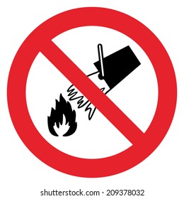 Prohibition sign NO FIRE EXTINCTION WITH WATER