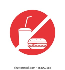 Prohibition sign of no foods and drinks are allowed. Cool flat design style. Simple.