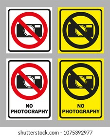 Prohibition sign NO PHOTOGRAPHY, NO CAMERAS ALLOWED