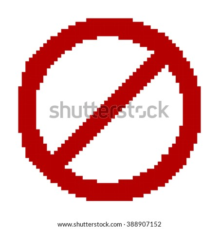 Pixel Art Template | Prohibition Sign Pixel Art Template Stock Vector Royalty Free