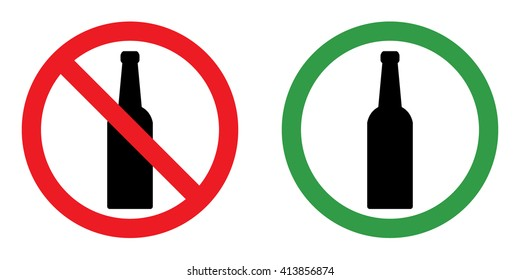Prohibition sign set for alcohol . Vector illustration