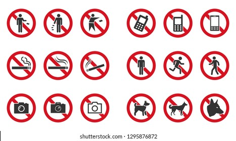 Prohibition sign set - no phone, no littering, no entry etc