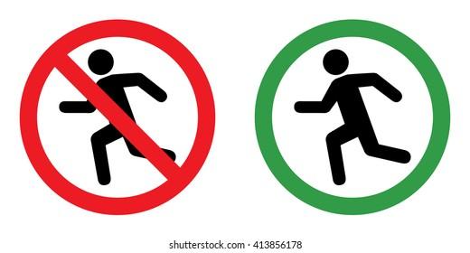 Prohibition sign set for run . Vector illustration