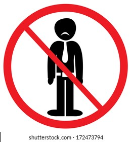 A prohibition sign showing that no sad people are welcomed here. Vector illustration.