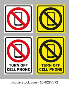 Prohibition sign TURN OFF CELL PHONE