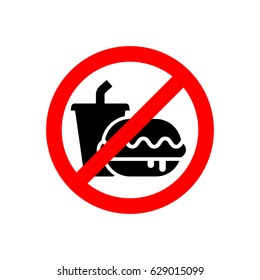 Prohibition sign vector. No food or drink, a cup of drink and a burger silhouette illustration, simple design.