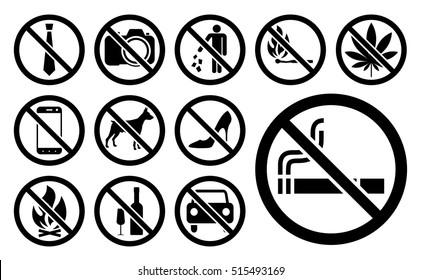 Prohibition signs black set. Vector illustration.