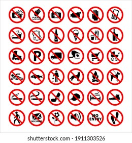 Prohibition Signs Collection Flat Vector