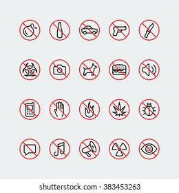 Prohibition signs and icons in thin line style